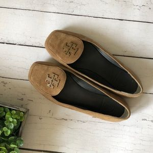 Tory Burch Taupe Suede Fitz Loafers